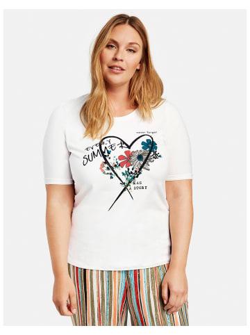SAMOON T-Shirt Kurzarm Rundhals in Weiss
