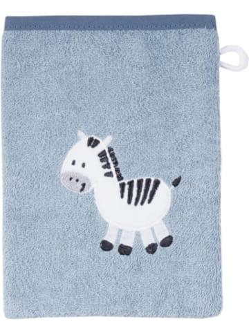 Wörner Kapuzenbadetuch und Waschhandschuh in Geschenkebox, Zebra hellblau, 80...
