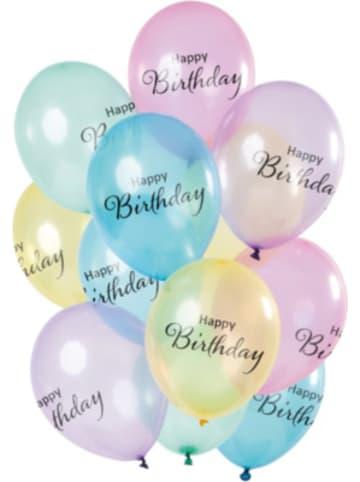 FOLAT Luftballons Happy Birthday Crystal Regenbogen 30 cm, 12 Stück