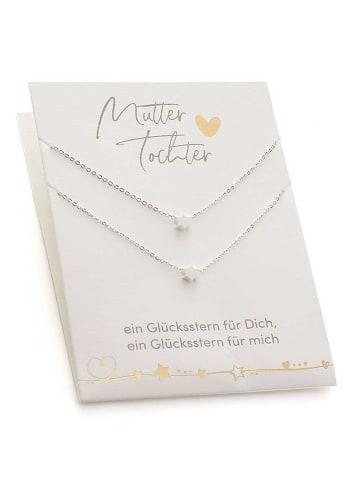 Himmelsflüsterer  Stern-Halsketten für Mutter & Tochter mit Geschenkkarte - Farbe: Silber