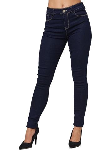 MiSS RJ Stretch Jeans Push Up High Waist Hose Dicke Naht Pants in Dunkelblau