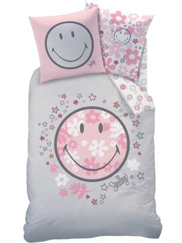 """Smiley World Kinder Bettwäsche-Set """"Smiley - Blumen & Sterne"""" in Grau / Rosa"""