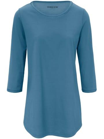 Green Cotton Long-Shirt mit 3/4-Arm in rauchblau