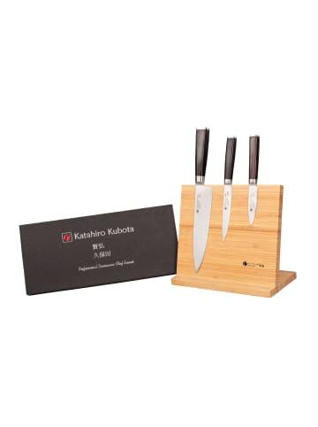 """Katahiro Kubota 3-tlg. Damast Chefmesser Set von """"Katahiro Kubota"""" inkl. Bambusständer"""