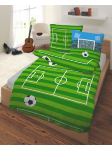 DOBNIG Kinderbettwäsche Fußball, Renforcé, grün, 135 x 200 cm