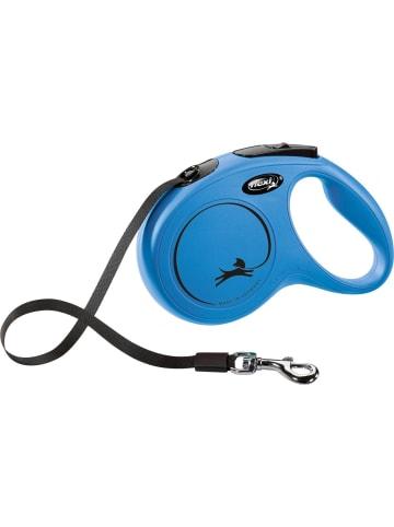 Flexi NEW CLASSIC Gurt Rollleine S: 5 m, bis 15 kg, blau