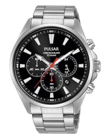 Pulsar Herrenuhr Chronograph Sport 10 bar Schwarz / Silber