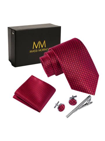Massi Morino  Krawatte Krawattenbox Set in rot kariert