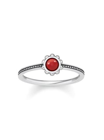 "Thomas Sabo Ring ""Ethno TR2151-111-10"" in silber und rot"