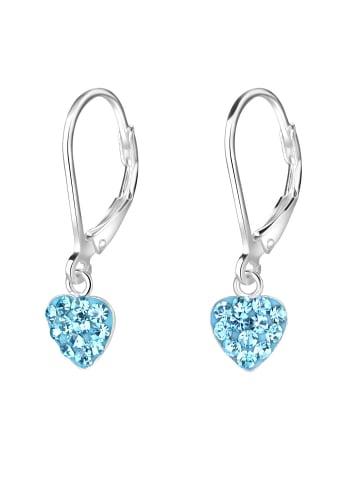 Schmuck23 Ohrringe 925 Silber Herz in Blau