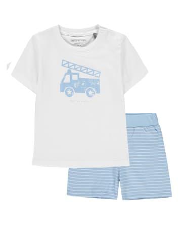 Bellybutton Schlafanzug 2tlg. T-Shirt, Shorts Zebra und Feuerwehr in cerulean