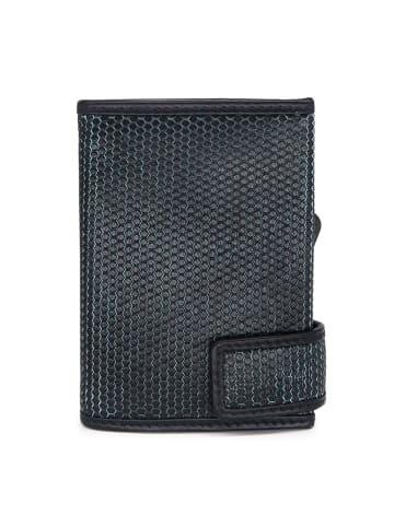 SecWal Kreditkartenetui RFID Leder 7 cm in schwarz-türkis