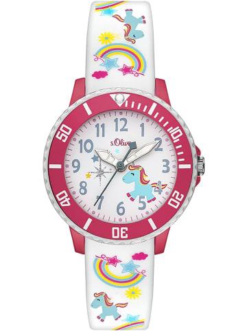 S.Oliver Time Armbanduhr in weiß blau pink