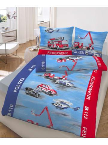DOBNIG Kinderbettwäsche Polizei & Feuerwehr, Renforcé, 135 x 200 cm