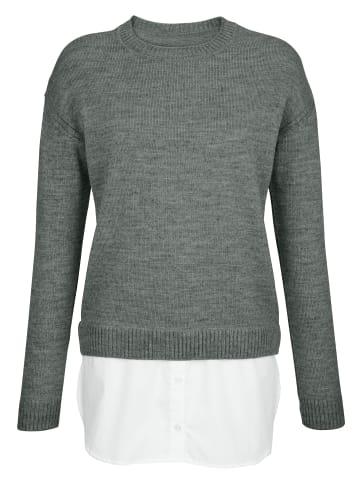 Mona Pullover in Grau,Weiß