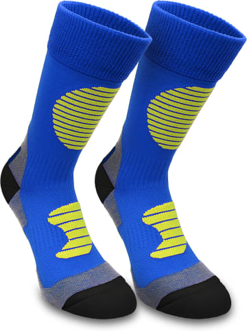 Normani 3 Paar Sportsocken mit Schienbein- und Fußrückenpolster in Blau/Gelb