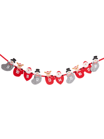 Hotex Adventskalender Girlande rot/grau, 235 cm
