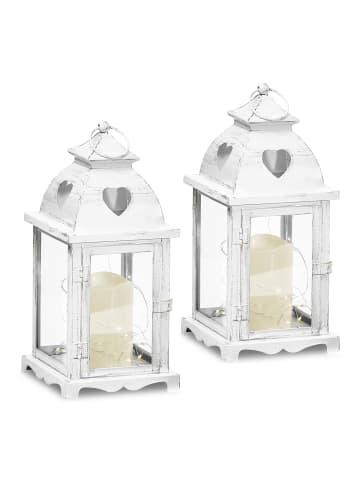 Gartenfreude Metall Lampe 2er-Set mit LED Kerze in Weiß mit Herzausschnitt