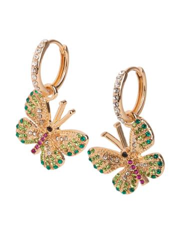 Six Huggie-Creole mit Schmetterlings-Motiv in goldfarben