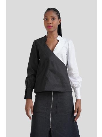 GESSICA Wickelbluse Wrap oreo shirt in schwarz & weiß
