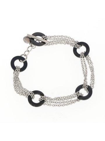 """Gooix Armband """"Edelstahl mit schwarzen Ringen 18 cm"""" in silber und schwarz"""