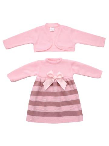 ANELY Bekleidungsset Kleid Jacke Strick Kombi Gestreift in Rosa