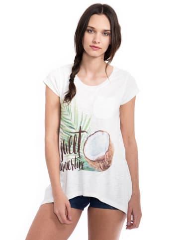 Way of Glory Way of Glory WAY OF GLORY  Shirt in Strickoptik mit Kokosnuss Print&Pailletten in weiß