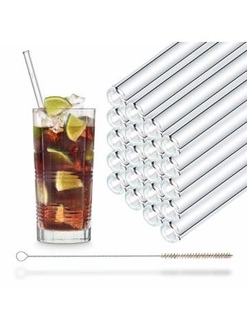 HÅLM 20er Party-Set Trinkhalme: Glas-Strohhalme in Transparent - 23 cm