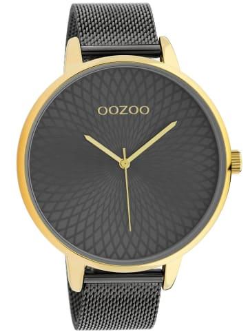 Oozoo XL Damenuhr mit Edelstahl-Armband gold / anthrazit 48 mm