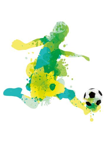 """Dekodino Wandtattoo """"Aquarell Fußballer beim Sprint"""" in Gelb / Grün"""