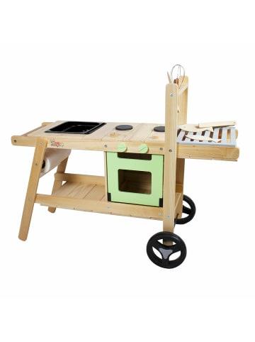 Edu dizayn Matschküche Maxi mit Grillfläche aus Holz in grün, holz
