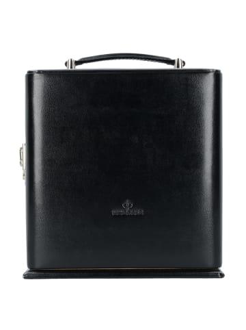 Windrose Merino Schmuckkasten Leder 25,2 cm in schwarz