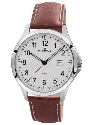 Dugena Herren-Armbanduhr Boston 10 Bar Wasserdicht Weiß / Braun / Silber