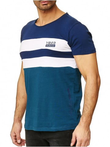 Sublevel T-Shirt Farbig Streifen Colorblock O-Neck in Petrol