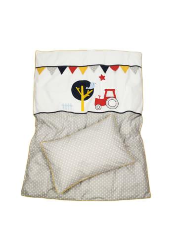"BABY LAL® Babybettwäsche ""TRAKTOR & SPATZ"" in Grau/Gelb - (L) 135 x (B) 100cm"