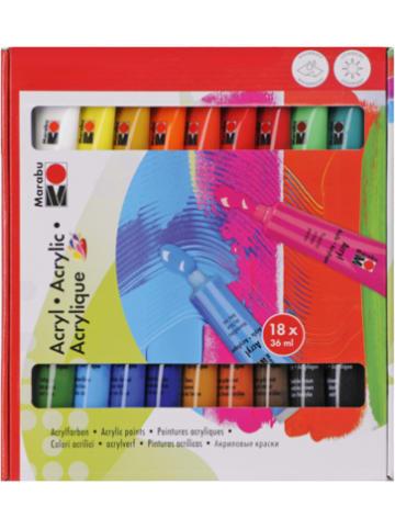 Marabu Acrylfarben-Set, 18 x 36 ml