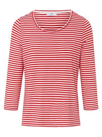 PETER HAHN 3/4-Arm-Shirt mit Rundhals in rot/weiß