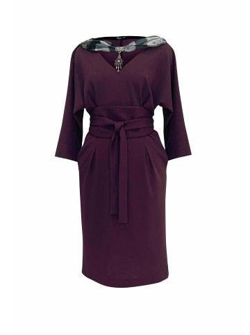 Wisell Abendkleid Midikleid mit V-Ausschnitt und Gürtel in violett