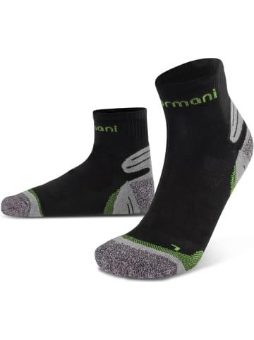Normani 3 Paar Kurzschaft-Sportsocken mit verstärkter Sohle in Schwarz/Grün
