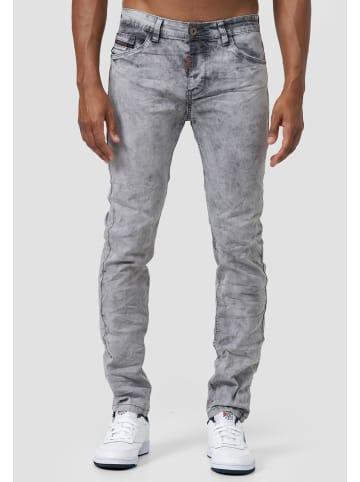 Jaylvis Acid Wash Jeans Denim Falten Design Slim Fit Hose in Grau