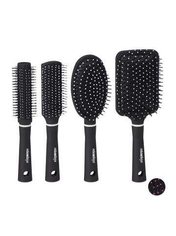 Relaxdays 4x Haarbürste in Schwarz/Weiß