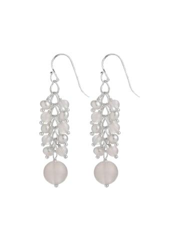 Pippa & Jean Perlenohrhänger Metall Rosenquarz Süßwasser-Zuchtperlen in Silber in silber