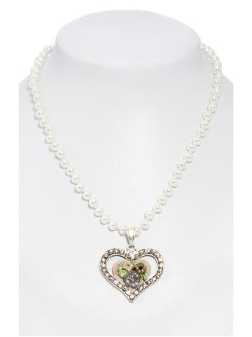 Schuhmacher Perlenkette mit bemaltem Herzanhänger taupe