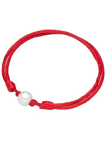 Valero Pearls Perlen-Armband Satin Süßwasser-Zuchtperle in Rot in rot