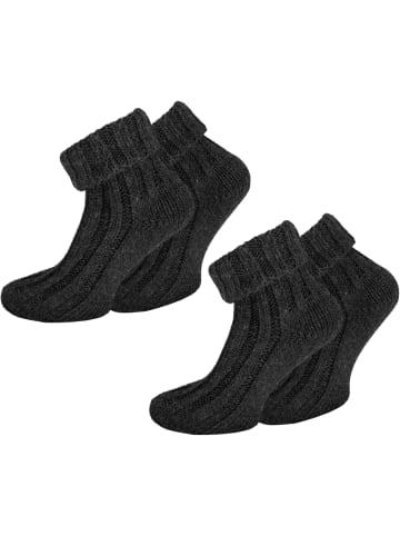 Normani 2 Paar Alpaka-Socken mit Umschlag in Anthrazit