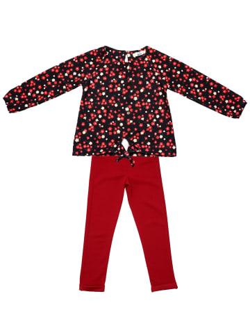 ANELY Mädchen Bekleidungsset Hose Pullover Longsleeve Kombi Blumen in Rot