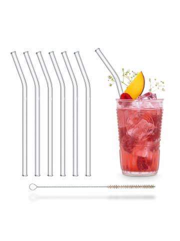 HÅLM 6er Set Trinkhalme: gebogene Glas-Strohhalme in Transparent - 20 cm