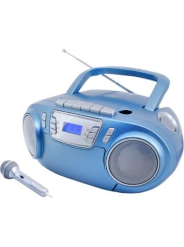 Soundmaster CD-Radiokassettenrekorder mit Mikrofon, USB und Lichteffekt, blau
