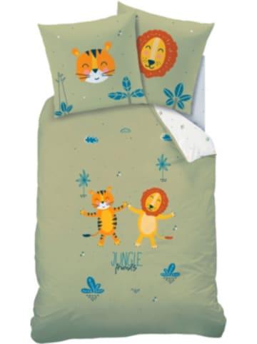 CTI Wende-Kinderbettwäsche Junglefriends, Renforcé, 80 x 80 cm + 135 x 200 cm