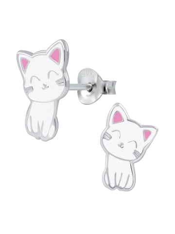 Schmuck23 Ohrringe 925 Silber Katze in Weiss